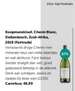 DM Vino Koopmanskloof chenin blanc krijgt 87 op 100