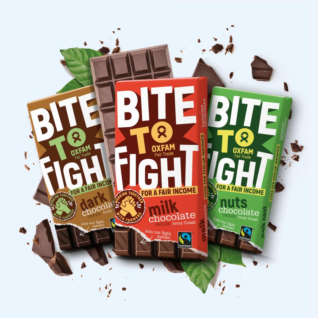 Aan de boeren die de cacao leveren voor Oxfams Bite to Fight-chocolade betalen we een extra premie die de kloof dicht met een leefbaar inkomen. Bovenop de fairtrademinimumprijs en de vaste fairtradepremie.